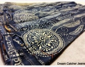 Dream Catcher and Feather design hand bleached onto upcycled denim
