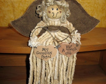 My Guardian Angel Has A Tough Job Tea-Dyed Country Mop Angel
