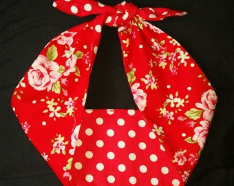 polka dot rose red 50s style bandana, rockabilly pin up psychobilly tattoo hairband headband