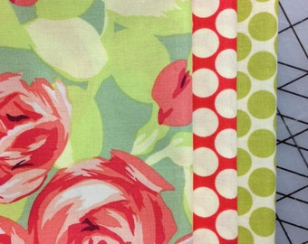 Amy Butler Tumble Roses Half Yard Bundle with Full Moon Dot in Lime and Cherry
