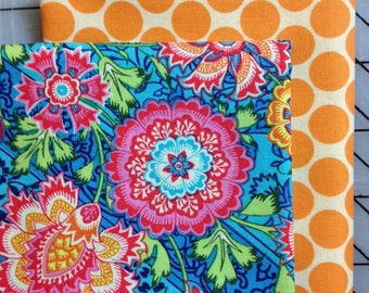 Amy Butler - Fat Quarter Set of 2 Fat Quarters - Heirloom and Full Moon Dot in Orange