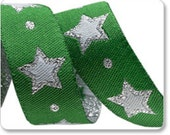 """STARS on Green with Silver 5/8"""" ribbon--price is per yard"""