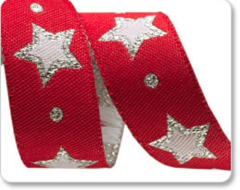 "STARS on Red with Silver 5/8"" ribbon--price is per yard"