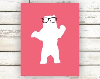 Bear, Bear Poster, Bear Print, Bear Art, Bear Artwork, Bear with Glasses, Animal Print, Animal Poster, Kids Wall Art, Home Decor, Nerd Art