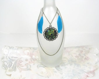 Peacock Pendant Wine Bottle Necklace, Wine Bottle Jewelry Charm, Wine Bottle Necklace