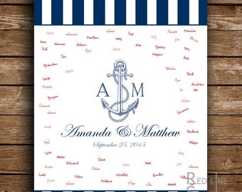 Nautical Guest Book alternative. Stripes and anchor. Wedding printable guest book. Signature Poster. Printable file.