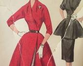 Vtg Simplicity 4897 1950s Kimono Sleeves Peplum Cummerbund Flared slim Wrap skirt Dior like Coat Robe Dress suit pattern bust 16/34 CC