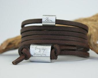 FOREVER - Personalized engraved leather bracelet, wrapped bracelet, engraving, dark brown, family bracelet, Father's Day, Gift Father's Day