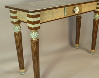 Sofa Table-Turned Legs:  Blue-Green, Anthropologie Knob, Custom Made-To-Order