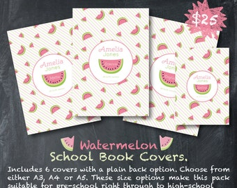 Custom School Book Covers - Watermelon