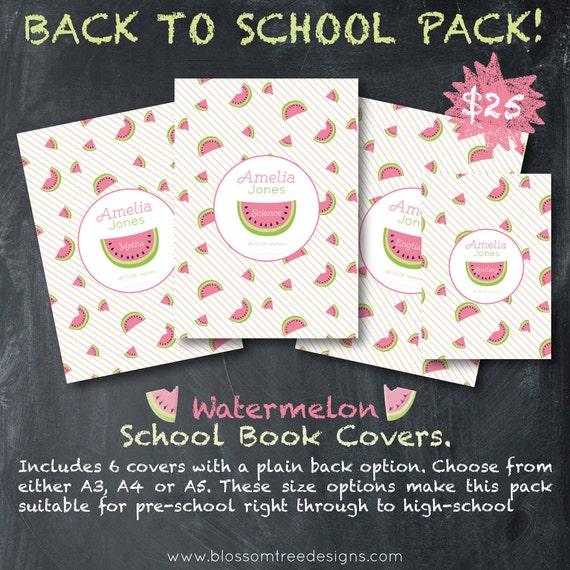 School Book Contact Cover ~ Custom school book covers watermelon