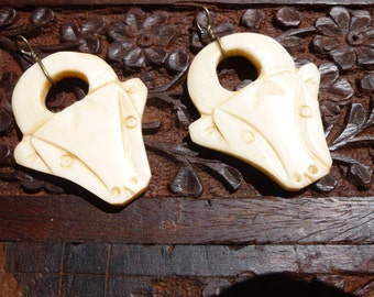 Vintage 1970 Rescued Carved Bone Ox or Bull Pendant