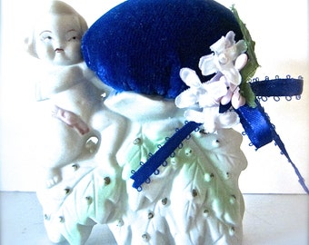 Pincushion Upcycled Japan Bisque Figurine Planter Vintage Sewing Gift, Quilter's Gift, Re-Purposed Treasure