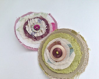 Fabric upcycled circle brooch, green or pink, vintage buttons, jewellery accessory