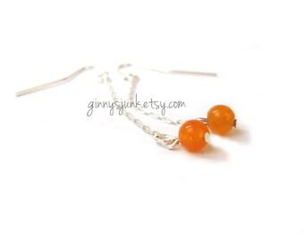 Orange Drop Dangle Earrings - 2 inch long Earrings