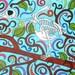 Bird Skeleton and Colorful Swirls Marking Drawing 9x12, Original Skeleton Art Bird Alternative Gift Idea, Macabre Horror Tree Wall Decor