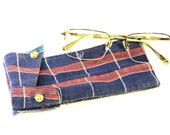 Fabic Eyeglass Case Navy Blue Plaid Eyewear Pouch Original Shabby Eco Handmade Unique Sunglasses Sleeve itsyourcountryspirit