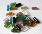 Glass tube beads, mixed colors