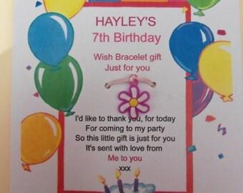 Personalised Birthday Thank You Wish Bracelet