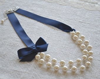 Abigail Sabrina: CUSTOM Double / Two Strand Linked Pearl Necklace with Ribbon Tie {bow}