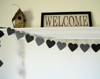 Goth Wedding Garland, Black & Charcoal Gray Heart Garland, Black Wedding Decor, Gothic Party Decorations, 8 ft. long