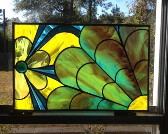 Bloom- floral stained glass panel with glass jewel, zinc border- unframed