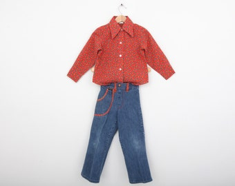Vintage Wrangler Shirt and Jeans Coordinating 1970s size 4T