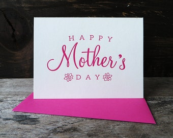 Vintage Happy Mother's Day - Letterpress Card