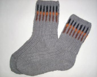 SALE! Hand Knitted Wool Socks - Colorful Wool Socks for Men -Mens Socks -Size Large US 11,5/EU45