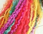 pop!  Long Wensleydale locks for dolls hair - Waldorf Blythe hair supply - hand dyed locks - long Wensleydale curls