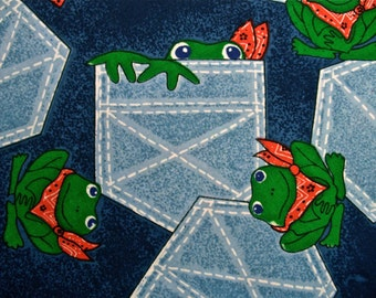 """Vintage Frog Print Fabric 3 2/3 yards long by 44"""" wide"""