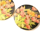 Wood Buttons Painted Pink Tulips on Black Base 4 hole Package of 2