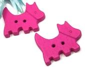 Magenta Scottie Dog Kids Buttons Wooden 20mm 8 Pack