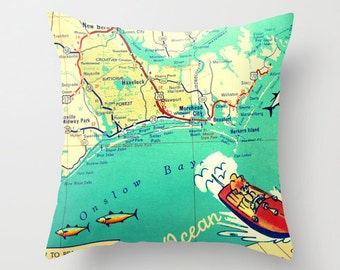 North Carolina Map Pillow Beaufort Harkers island morehead City NC map decor  Beach House | Decorative Throw Pillow Cover Retro Map Pillow