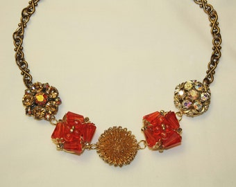 Beautiful Necklace of Glass, Rhinestone, & Wire Vintage Clip Earrings - Repurposed, Handmade