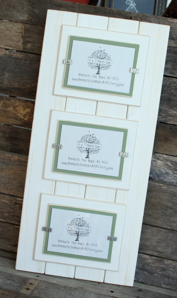 triple 5x7 picture frame distressed wood double mats holds 3 5x7 photos white boards. Black Bedroom Furniture Sets. Home Design Ideas