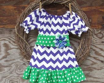 Girls Purple Dress, Girls peasant Dress, Girls ruffled dress, Kids dress, Kids  ruffled dress, Girls Dress