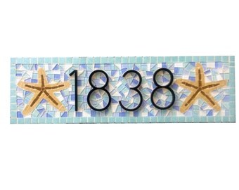Aqua and Blue Address Sign with Starfish - Mosaic House Number Plaque  - Beach House Decor