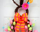 PRE-ORDER Very Limited!!! - Whimsical RAZ Style Easter Bunny Wreath - Spring Wreath - Summer Wreath - Easter Door Decoration