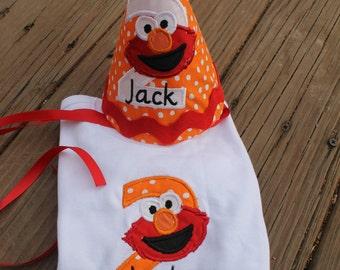 Elmo Birthday Hat with Matching Shirt
