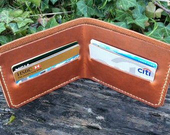 The minimalist bifold wallet, Handmade in the USA, Made from beautiful full grain leather, Oiled leather, London tan