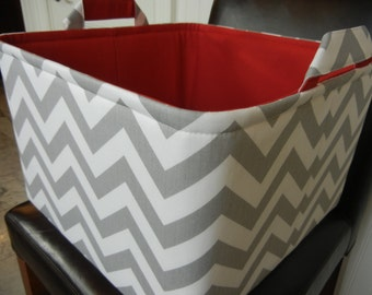 "Ex Large Toy basket 14""x14""x10""(choose BASKET & LINING color)-Toy Storage Bin-Baby Gift-Fabric Storage Organizer-Chevron-""Grey Zigzag"""