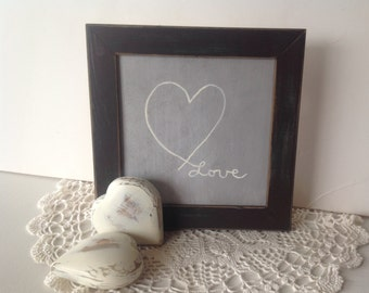 Espresso Brown Framed Heart Wall Decor - Painted White Heart - LOVE