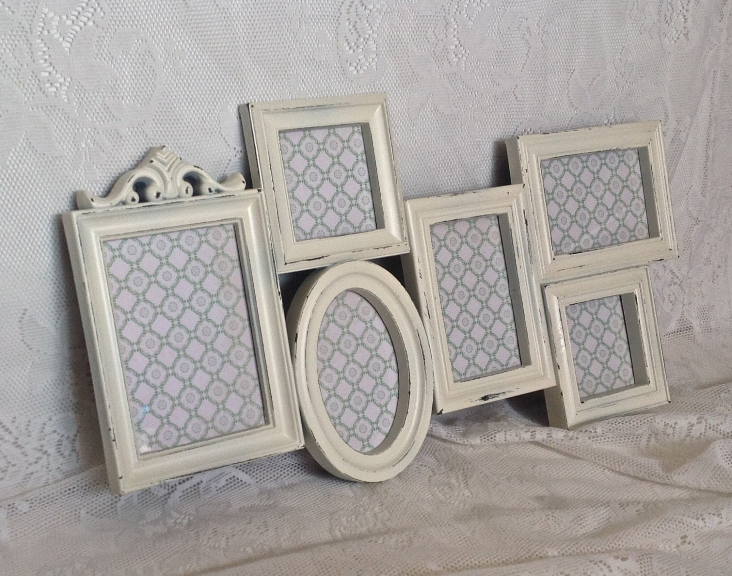 shabby chic frame collage large white wall collage 4 x 6. Black Bedroom Furniture Sets. Home Design Ideas