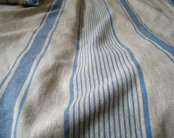 US Twin size duvet cover - protector -  Natural flax linen bedding - Blue stripes.