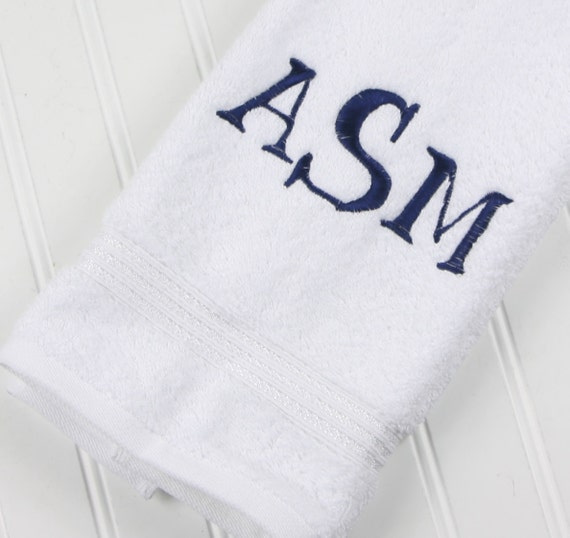 Monogrammed Hand Towels: White Guest Towels With By