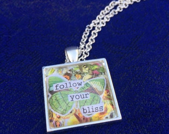 Glass Tile Necklace - Follow Your Bliss