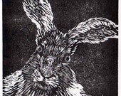 March Hare original linocut print miniature unframed limited edition numbered print