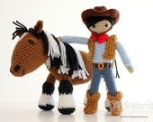 Instant Download Pattern BUNDLE Cory the Cowboy and Morla the Horse Amigurumi Doll Crochet