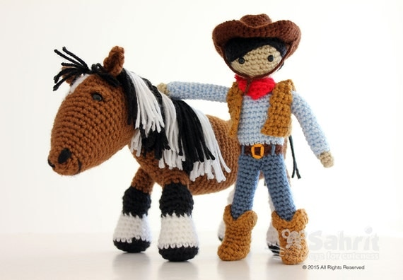 Instant Download Pattern BUNDLE Cory the Cowboy and Morla the